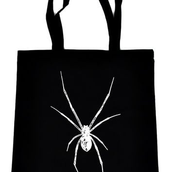 Black Widow Spider Tote Book Bag White Print Gothic Horror Handbag