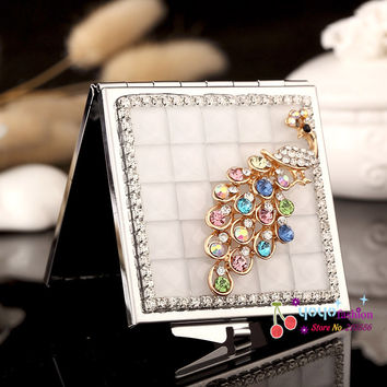 wedding party bridesmaid girl friend present gifts,bling crystal rhinestone peacock,mini beauty makeup compact pocket mirror