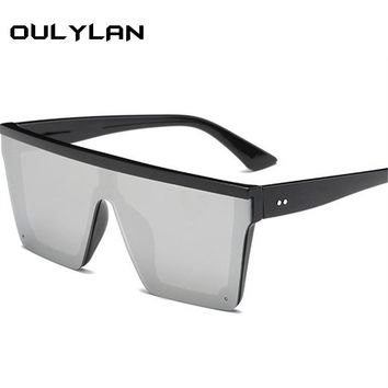 Oulylan Vintage Oversized Sunglasses Women Black One Piece Cool Driving Sun Glasses Men Fashion Brand Designer Male Eyewear