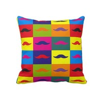 "Funny Pop art mustache,""Andy Warhol""'s style Pillow from Zazzle.com"