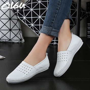 O16U women Espadrilles flats shoes Genuine leather cut out slip on Ladies Ballet Flats loafers Female Moccasins Shoes Ballerina