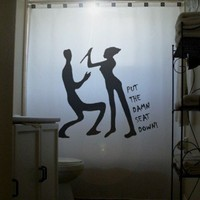 Toilet Humor Funny Shower Curtain Psycho by CustomShowerCurtains