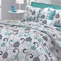 Twin, Dorm Bedding Set in Mint Green, Teal Blue, Seafoam, White Damask Print  – 4-piece Set with Duvet Cover, Flat Sheet, Sham & Pillow Case