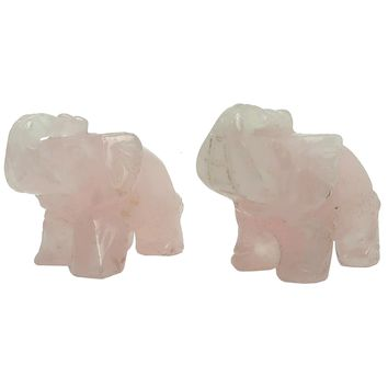 Rose Quartz Elephant 01 - Pair Pink Trunk Up Animal Set