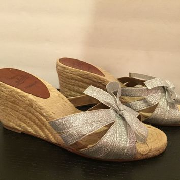 Christian Louboutin Tiburon Sandals Wedge Espadrille Silver Natural 37/ 6.5 Nice