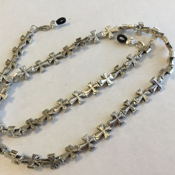 Silver cross handmade eyeglass chain holder