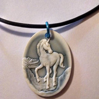 Blue and White Unicorn Horse Cameo Pendant with Leather Cord Necklace Teen Prom Sister Friend Summer Beach Graduation Minimalist Gift Idea