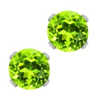 1.00 Ct Round Green Peridot .925 Sterling Silver 5.00mm Stud Earrings | AihaZone Store