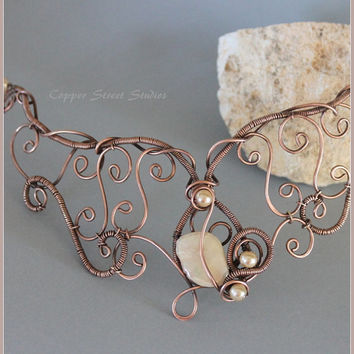 Copper Wire Necklace, Copper Collar Shell, Copper Necklace, Wire Wrapped Necklace Copper Art Necklace Copper Wire Jewelry Wire Art Jewelry
