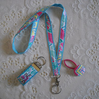 Preppy Pink Aqua Lilly Pulitzer Fabric Lanyard by marinascloset