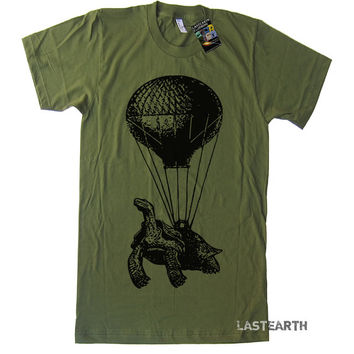 Mens Hot Air Balloon T Shirt Steampunk Flying Turtle Tshirt - American Apparel T-shirt - S M L Xl and Xxl (15 Color Options)