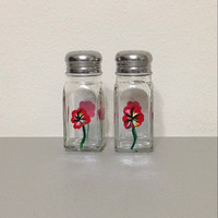 Salt and Pepper Shaker Set with Hand Painted Red Poppies