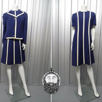 Vintage 70s Mod Two Piece Dress Set Shift Dress Navy Blue and White Trim Pure New Wool Nautical Dress 1970s Jacket and Dress Ensemble