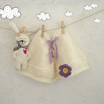Baby cape / baby poncho / hand knit baby outfit in white with purple accents