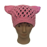 Crochet Pink Pussy Hat Handmade Cotton Pussycat, Global Virtual March Pussyhat Women Power Woman's Rights Are Human Rights
