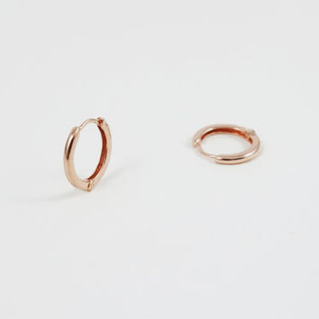 Rose Gold Mini Hoop Earrings - Solid Rose Gold Tiny Hoop Earrings 12k - Gift For Her - Simple Minimalist Everyday Jewelry by LITTIONARY
