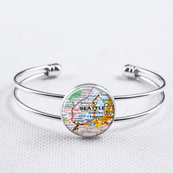 Vintage Map Bangle-Seattle Map Bracelet,Custom City Map, Location,Bride,Bridemaids Team Bangle, Special Gifts for women