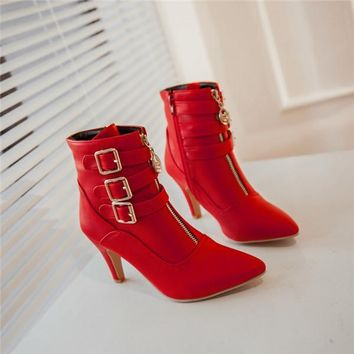 New Shoes Women Boots High Heels Ankle Boots Pointed Toe Buckle Boots Zip Ladies Shoes White
