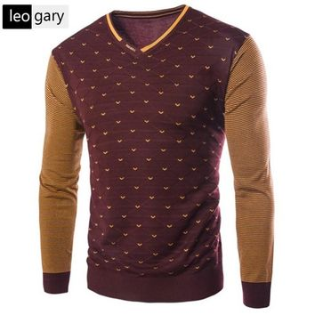 New Arrival Korean Style High Quality Stitching Color Warm Sweater Male Stripe Dot Cashmere Sweater 4Color M-3XL