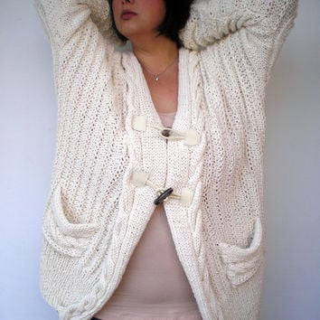 Cream Cabled Cardigan Sweater Trendy    Hand Knit Woman Plus Size Cardigan  NEW