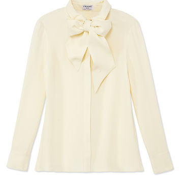 Frame Denim Le Bow Tie Shirt - Ivory Silk Blouse