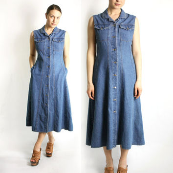 Vintage 80's 90's Blue Denim Jean Sleeveless Maxi Long Button Down Dress A-Line - Medium