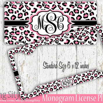 White Leopard Monogram License Plate Frame Holder Snow Hot Pink Cheetah Animal Print Pattern Personalized Custom Vanity