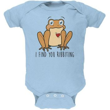 CREYCY8 Toad I Find You Riveting Funny Pun Valentine's Day Soft Baby One Piece