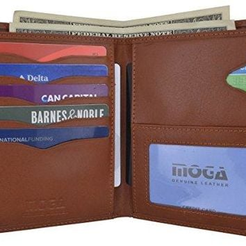 Genuine Leather Large Hipster Bifold Credit Card ID Holder Wallet for Men by Moga
