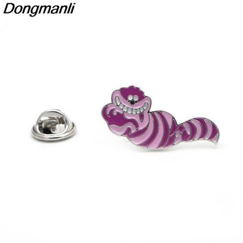 P1863 Dongmanli Alice in Wonderland Cheshire cat Cute Funny figure Enamel Brooch kids Pins Badge Buttons Gift Jewelry Gift