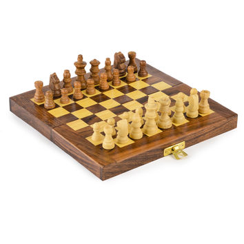 Rusticity Wood Chess Set with Folding Board and Chess Pieces | Handmade | (8x8 in) '
