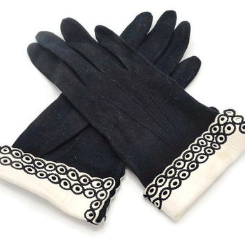 1950's Black Suede And Ivory White Kid Leather French Gloves