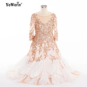 YeWen Beach Ostrich Feathers China Long Sleeves flower girl dresses for weddings 2016 kids evening gowns mother daughter gowns