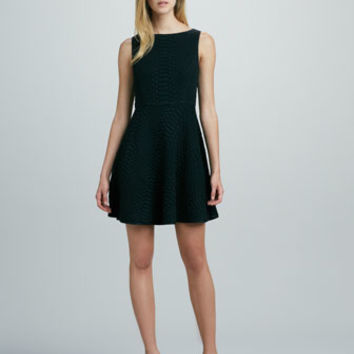 Aimee Crocodile-Jacquard Dress