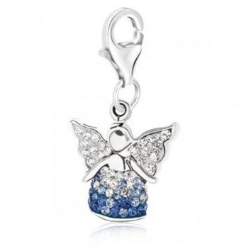 ac NOVQ2A Sterling Silver Multi Color Crystal Accented Angel Charm