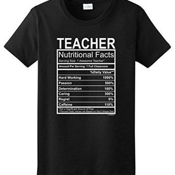 Teacher Gift Nutritional Facts Gag Gifts Funny Shirts For Women