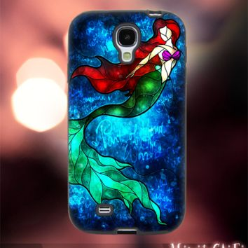 MC1002Y,6,Ariel The Little Mermaid,Fish,Swim -Accessories case cellphone-Design for Samsung Galaxy S5 - Black case - Material Soft Rubber