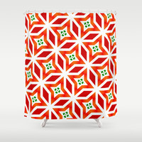 Red geometrical pattern1 Shower Curtain by LoRo  Art & Pictures