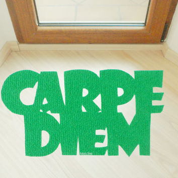 "Custom doormat ""Carpe Diem"". Latin positive phrase in your floor. Home decor"