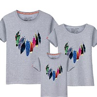 Mommy and Me Feather Print Tshirt