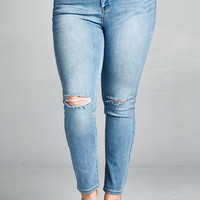 Knees Destroyed Ankle Skinny Jeans Light Denim Plus Size