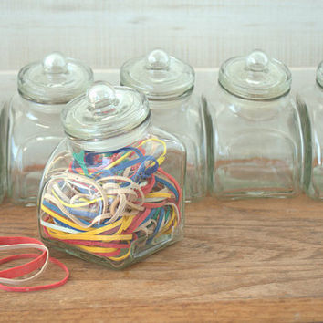 Small Glass Candy Jars, Flat Bottomed Storage Jar, Spice Jar with Lid Set of 7
