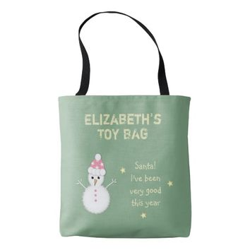 Christmas Snowman Santa Tote bag toy bag