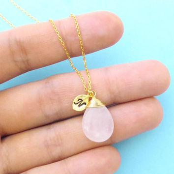 Rose, Quartz, Personalized, Letter, Initial, Leaf, Charm, Gold, Silver, Necklace, Birthday, Best friends, Wedding, Gift, Accessory, Jewelry