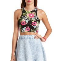 PRINTED RACER FRONT CROP TOP