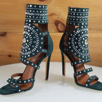 "CR Blair Emerald Green Rhinestone & Stud Design 4.5"" High Heel Shoes"
