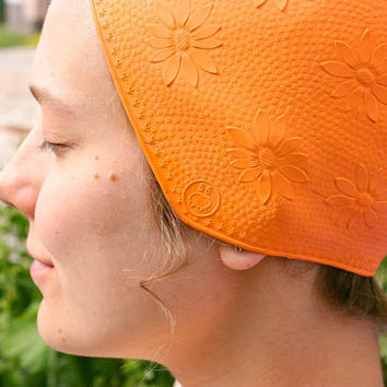 Soviet Rubber Swim Cap / Orange Floral Embossed Bathing Cap, USSR Vintage Sport Accessory, Retro Beachwear, SIZE: 56, Small