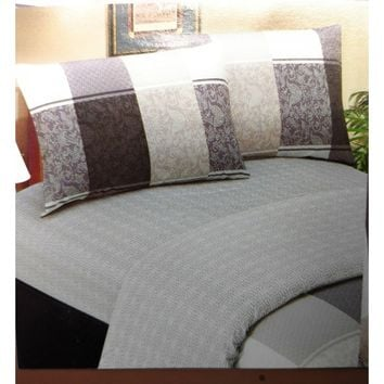 Elegant Jacquard Grey Floral Paisley Linen Fitted Sheet Set & Pillow Cases Sham Covers (FTS8222)