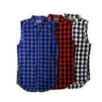 Plaid Zippers England Style Hot Sale Casual Sleeveless Shirt [10368009923]