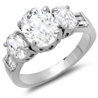 3.50 CT Ladies Oval & Baguette Cut White Cubic Zirconia CZ Engagement Bridal Ring (Available in size 6, 7, 8)
